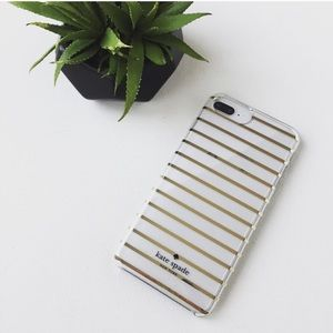 New Kate Spade Gold Striped IPhone 6/6s/7/8+ Case